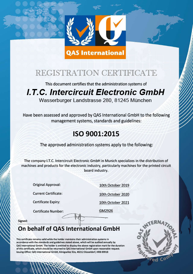 REGISTRATION CERTIFICATE I.T.C. Intercircuit Electronic GmbH ISO 9001:2015