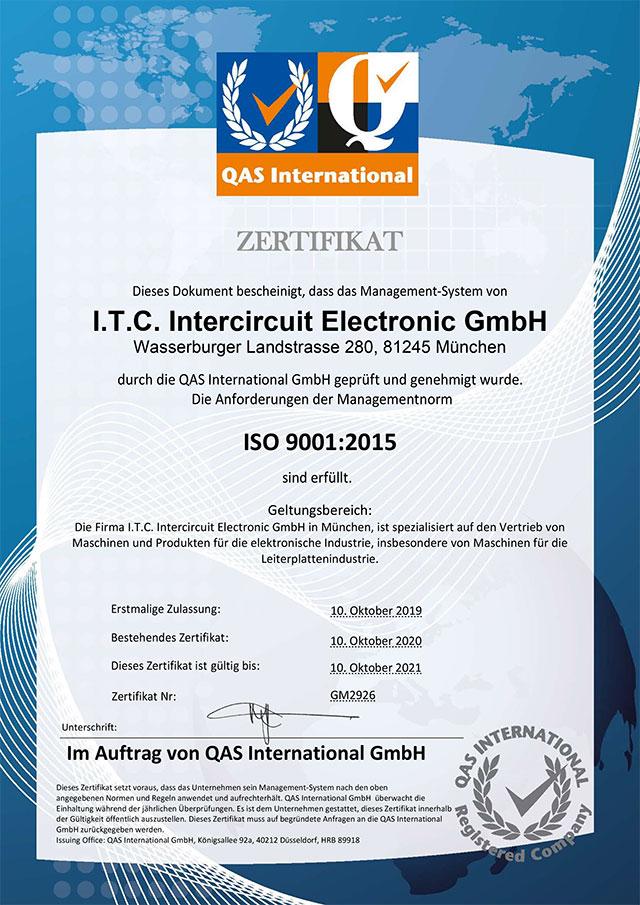 Zertifikat I.T.C. Intercircuit Electronic GmbH ISO 9001:2015