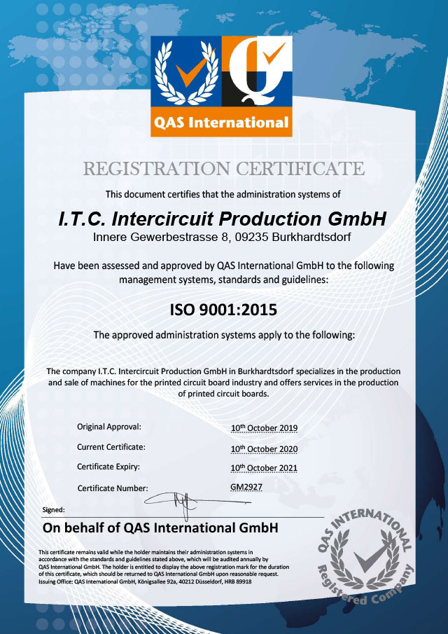 REGISTRATION CERTIFICATE Intercircuit Production GmbH ISO 9001:2015