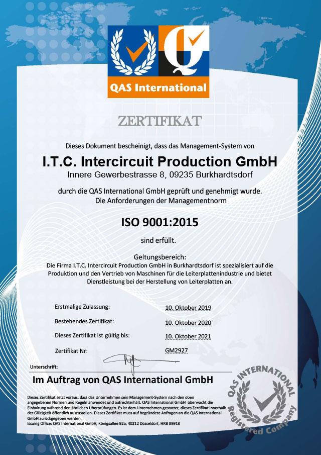 Zertifikat I.T.C. Intercircuit Production GmbH ISO 9001:2015